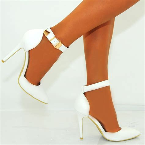 white high heels white pu faux leather pointed ankle stiletto
