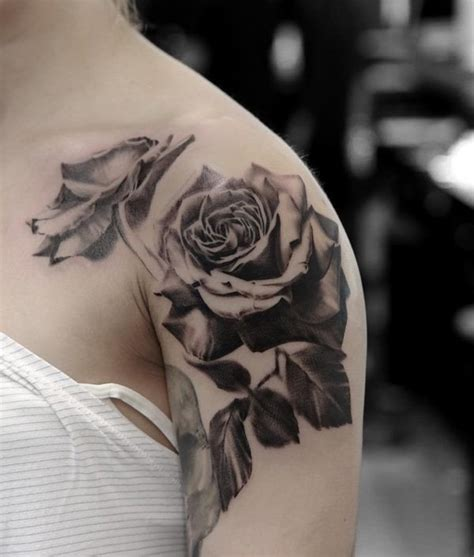 black rose tattoos for girls flower shoulder black and white www pixshark