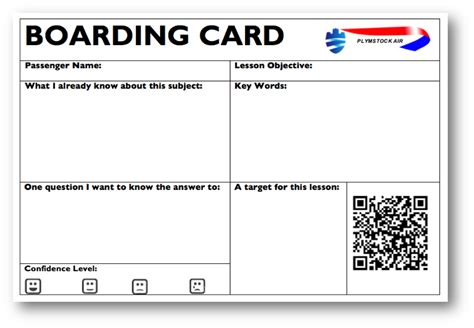 Boarding Card Template by Innovative Education Org