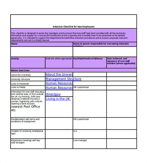 new templates new hire checklist templates 16 free word excel pdf