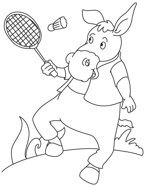 donkey playing badminton coloring page download free