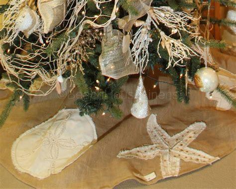 burlap coastal christmas tree skirt beach house linens