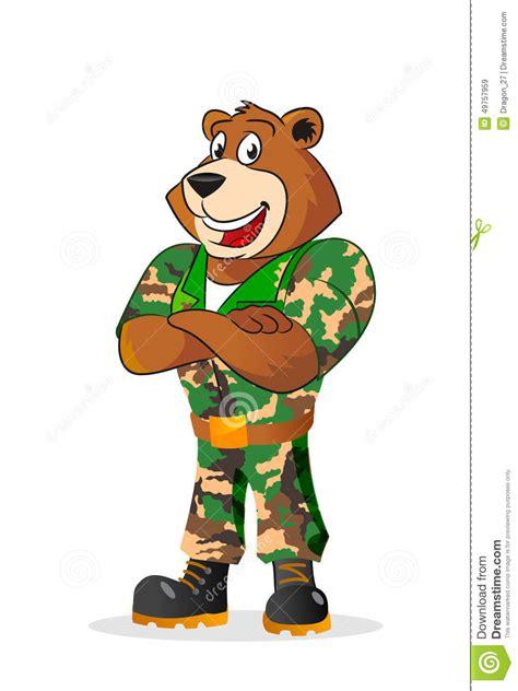 cartoon bear  military camouflage uniform stock vector