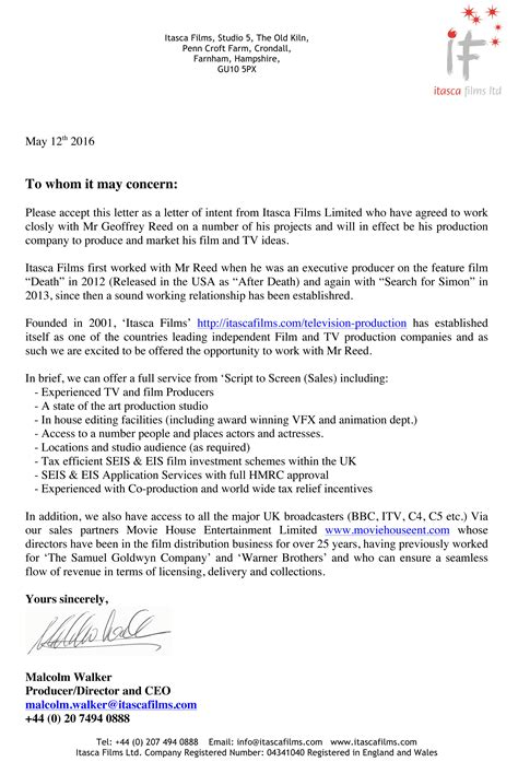 Letter Of Intent Documentary Media Production Cling Letter Of Intent 6