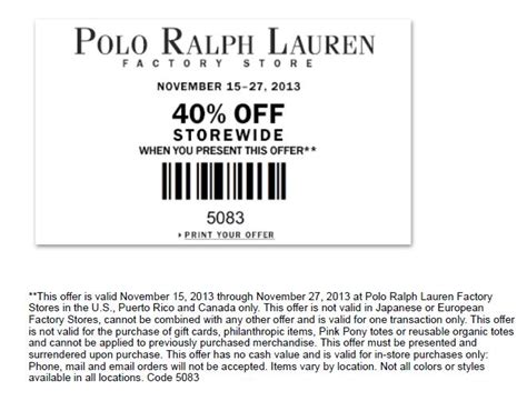 printable polo outlet coupons canada gta polo ralph lauren factory outlet 40 off