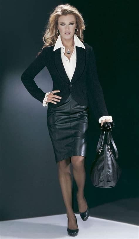 black leather skirt white blouse 2014 2015 fashion