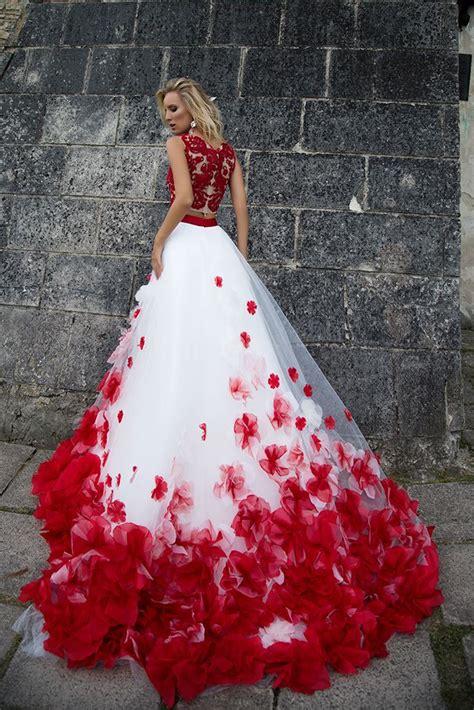 afghaanse jurk wit qumo 1001 een line twee stukken organza rood en wit prom
