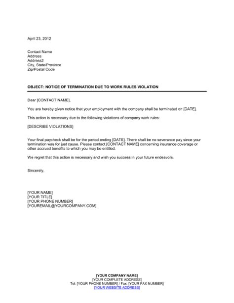Termination Letter For Violating Company Policy Safety Notice Template Just B Cause
