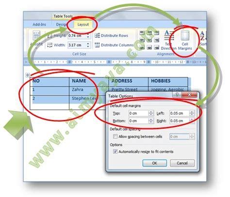 cellular layout adalah cara meminimalkan ukuran kolom tabel microsoft word cara