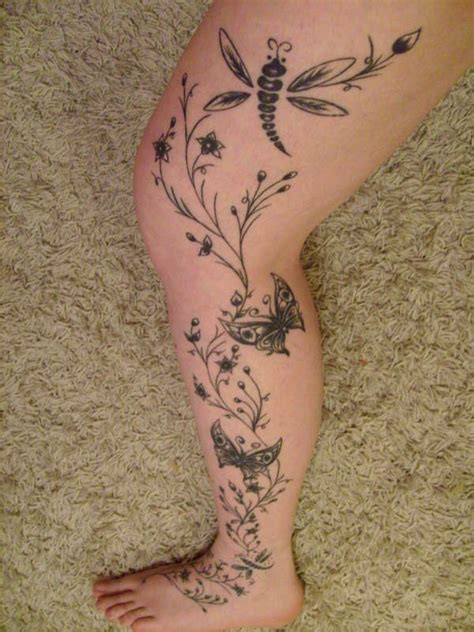 rose vine tattoo on leg flower vine tattoos for leg vine