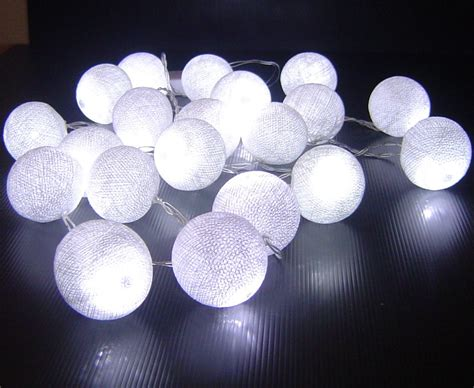 White Cotton Ball Battery Operated Led Fairy Lights Cotton Lights