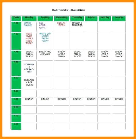 study plan template for students study schedule template weekly schedule template free word