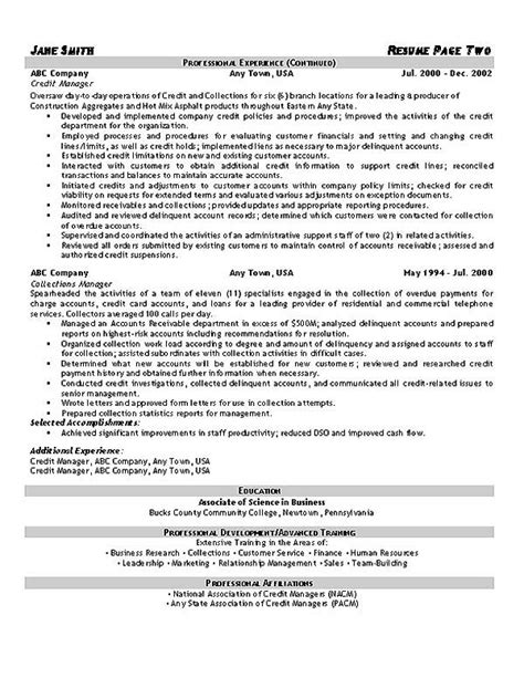 Resume Format Credit Manager Collections Resume Exle