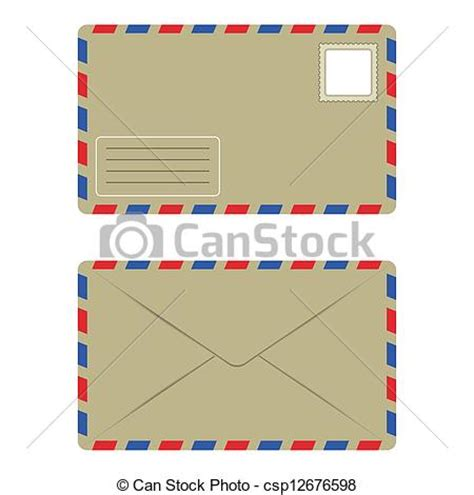 eps vectors of front and back old envelope with postage