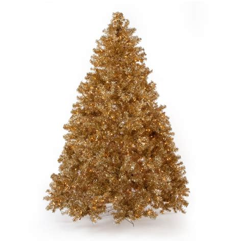 gold artificial tree classic chagne pre lit tree 7 5 ft