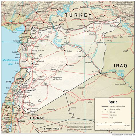 syria on map syria central intelligence agency