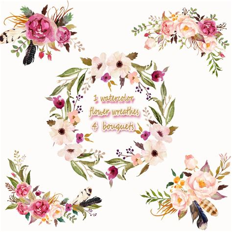 Floral Bouquets by 1 Watercolor Flower Wreathes 4 Flower Bouquet Floral