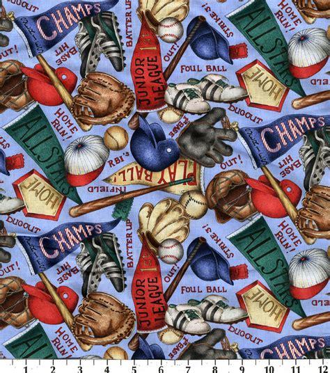 Baseball Quilt Fabric by Novelty Cotton Fabric Baseball Equipment Jo