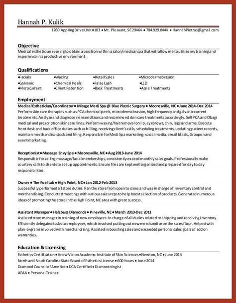 new esthetician resume exle