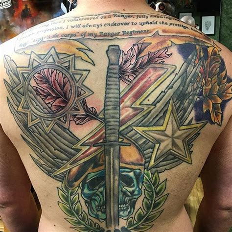 army ranger tattoos back ranger vet 3d veteran ink