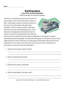 earthquake comprehension instant worksheets