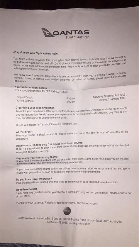 Complaint Letter To Qantas Qantas Passengers Bound For Sydney Stranded In Dubai On New Year S