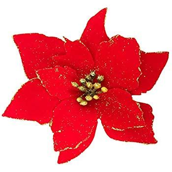 clear poinsetta holiday flower xmas lights decorations pair of clip on poinsettia health personal care