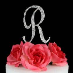 rhinestone silver letter quot r quot monogram wedding cake