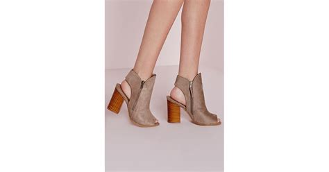 missguided peep toe cut out ankle boots taupe in brown