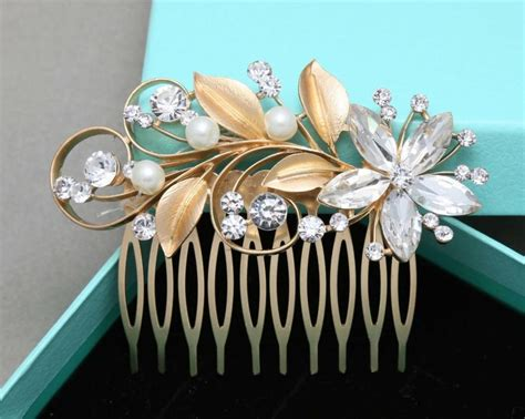 Bridal Faux Pearl Hair Comb vintage flower bridal hair comb gold leaf flower hair