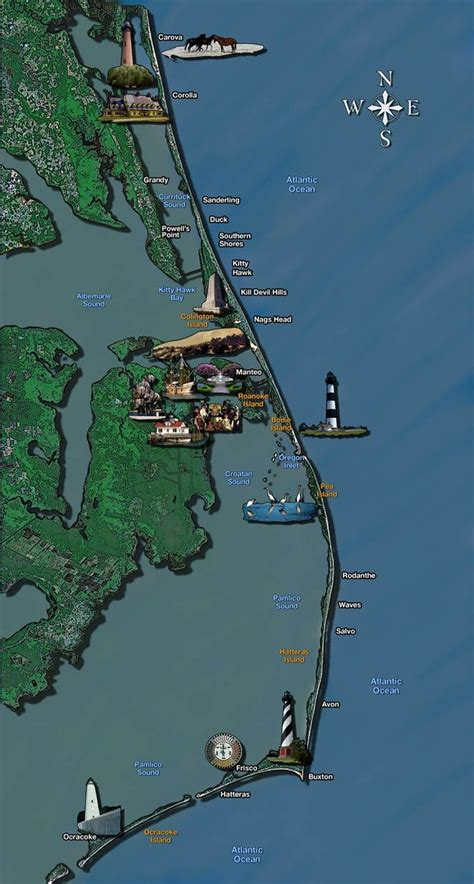 map of outer banks nc outer banks vacation guide 321 best images about the outer banks on pinterest