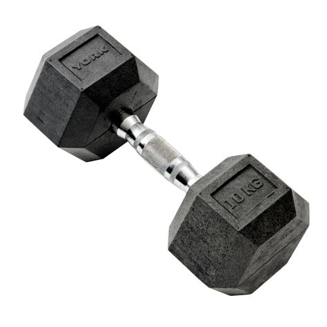 Dumbell 10kg york 10kg rubber hex dumbbell