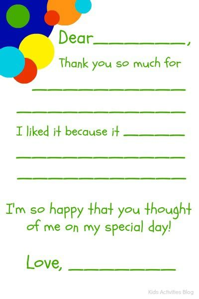 template for thank you card birthdays fill in the blank thank you note free printable note