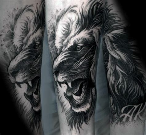 black and grey lion tattoo 40 lion forearm tattoos for men manly ink ideas
