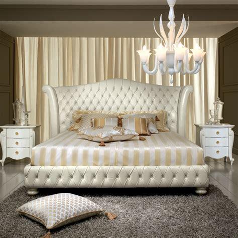 letto classico letto matrimoniale design classico in cuoio bianco decoro
