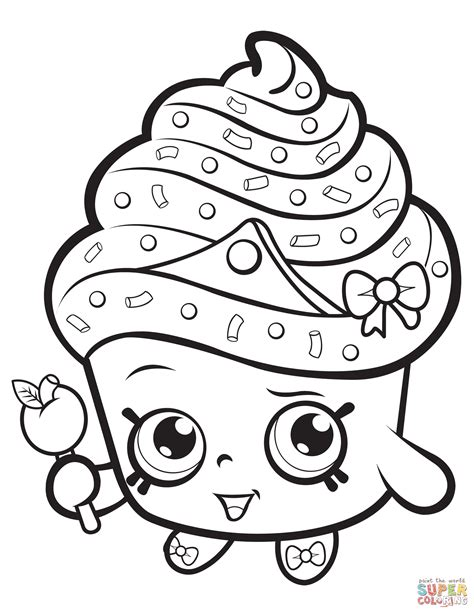 Cupcake Coloring Pages To Print by Cupcake Shopkin Coloring Page Free Printable