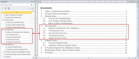 office table of contents template navigation pane in word 2010 your content guide the