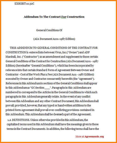 13 contract addendum template legal resumed