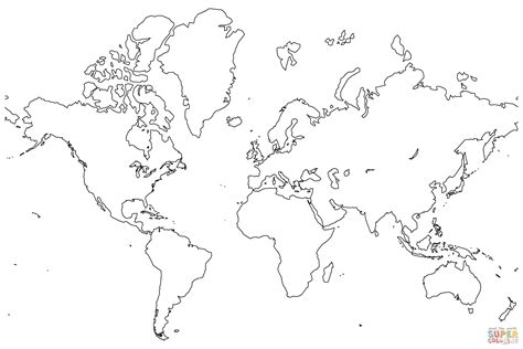 blank map   world coloring page  printable