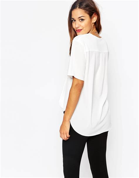 drape wrap blouse short sleeve drape wrap blouse