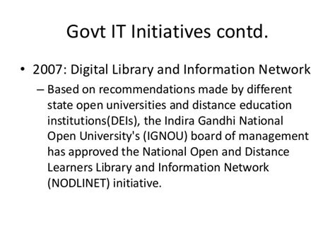 Indira Gandhi National Open Distance Education Mba Courses by Information Technology Application For Education