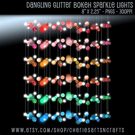 dangling glitter bokeh lights border clip art digital