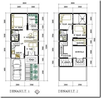 contoh denah rumah lebar  meter desain rumah