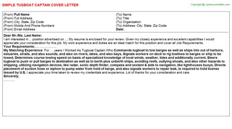 Captain Cover Letter by Tugboat Captain Cover Letter Sle