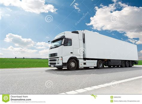 trailer white white lorry with trailer blue sky royalty free stock