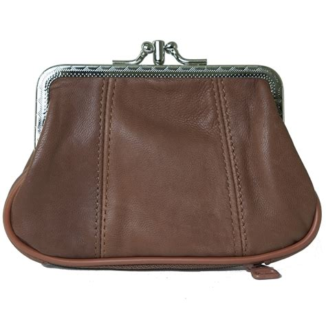 Leather Wallet Coin leather womens wallet metal frame coin purse id credit