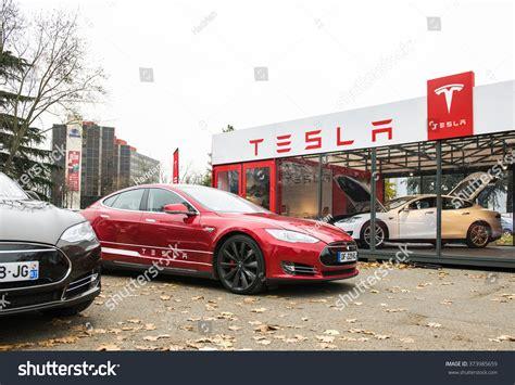 tesla outside paris france november 29 tesla model stock photo 373985659