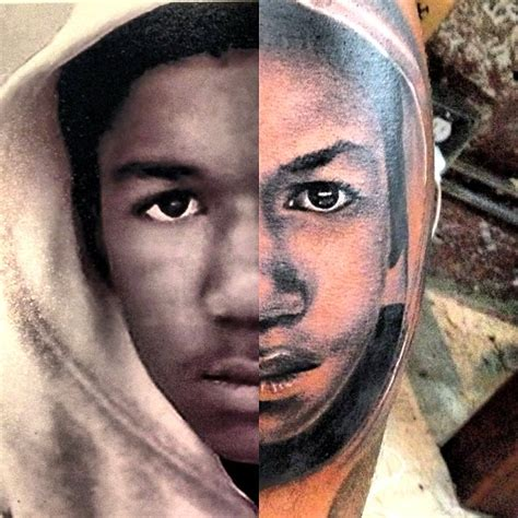 game face tattoos the gets iconic trayvon martin inked on his leg