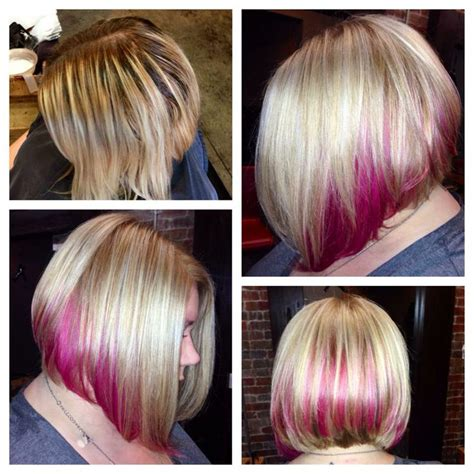 blonde bob pink highlights pink ombre bob hairstyles hair photo com