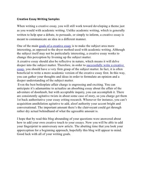Essays Writing In by Creative Essay Writing Sles